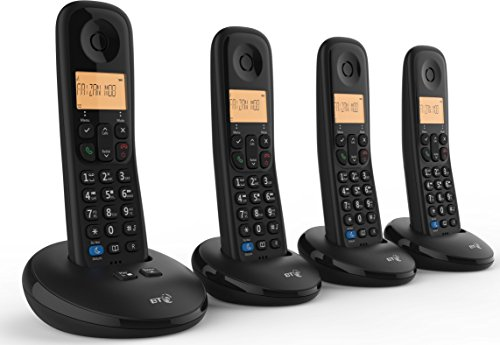 BT Everyday Cordless Home Phone with Basic Call Blocking and Answering Machine, Quad Handset Pack