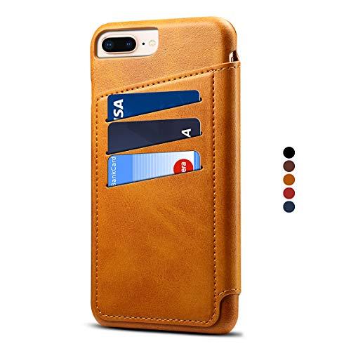 Preisvergleich Produktbild Apple iPhone 8 Plus Leder Handy Hülle Flip Case Handytasche Cover Schale mit Kredit Karten Fach Geldbörse Geldklammer Leder Handy Schutzhülle,Khaki