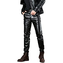 Idopy Hombres `s Negro Slim Fit Soft PU Faux Leather Biker Pants (W36(cintura 89cm), Negro 1)