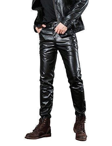 Idopy Herren Slim Fit Soft PU Faux Leder Biker Hose Trachtenlederhose Trachtenlederhose Lederhosen, Schwarz,W34(Taille 84cm) -