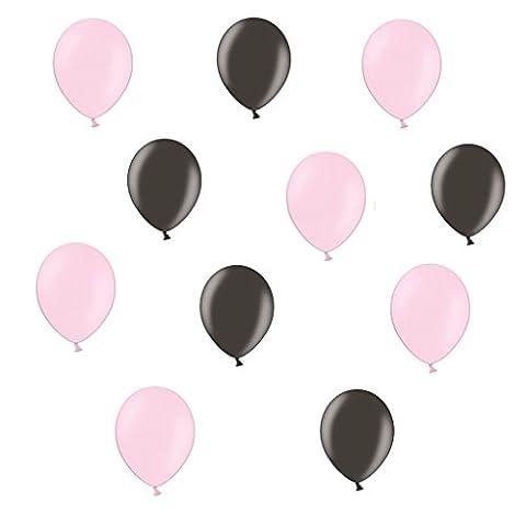 50 x Metallic Luftballons je 25 Schwarz Metallic und Pink / Rosa Metallic - ca. Ø 28cm - 50 Stück - Ballons als Deko, Party, Fest - Farbe schwarz & Pink / Rosa - Helium geeignet -