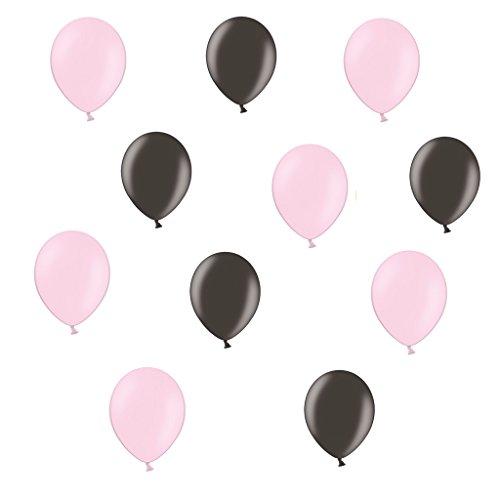c Luftballons je 25 Schwarz Metallic und Pink / Rosa Metallic - ca. Ø 28cm - 50 Stück - Ballons als Deko, Party, Fest - Farbe schwarz & Pink / Rosa - Helium geeignet - twist4® (Rosa Und Schwarze Ballons)