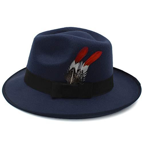 VAXT Point Wool Herrenhut Britischer Gentleman Fashion Influx High-End-Hut Fedora Hut Street Dance Hut (Farbe : Dunkelblau, Größe : 56-58cm)
