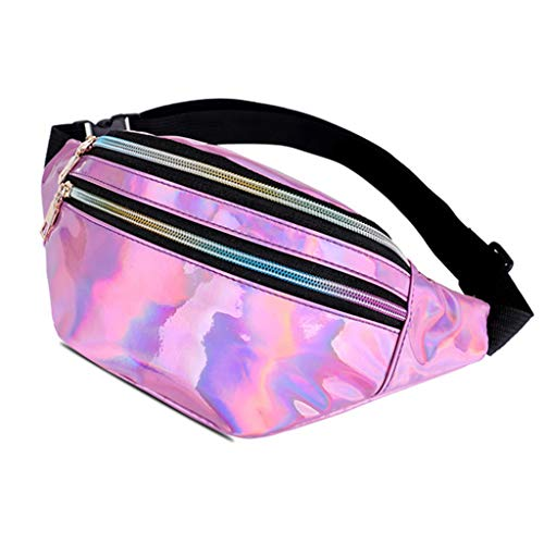 Anjuley Women's Hologram Fanny Pack Belt Waist Bum Bag Travel Beach Purse Phone Case Pink