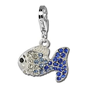 SterlinX Charms – Blauer Fisch mit Swarovski Kristallen in 925 Silber aus der Kollektion SterlinX – D1GSC001