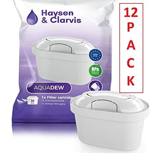 Haysen & Clarvis Wasserfilter Kartuschen Kompatibel Brita Maxtra, PearlCo, BWT, Dafi (12er Pack)