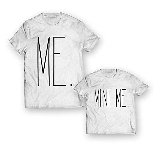 Coppia di t-shirt maglie padre - figlio figlia idea regalo festa del papa' me mini me bianche uomo 3xl - bimbo 1-2 anni