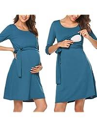 Romanstii Damen Umstandskleid Maternity Schwangerschafts- und Still-Kleid  Mit 3 4 Ärmel… 199421864c