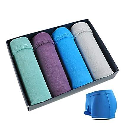 Ropa Interior para Hombres Modal Boxer Pants Cómodo, Transpirable, Cintura Media, Succión Ropa Interior para Hombres (4 Piezas)