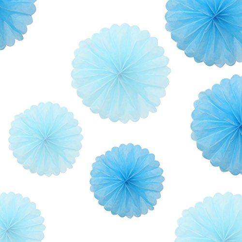 (Beyond Dreams 10er Premium Seidenpapier Pompons | Tissue Pompom Blumen Hängedekoration | Seidenpapierblumen Dekoration Hochzeit Party | Kinder Geburtstag Baby Shower Babyparty | Türkis Blau |)