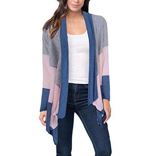 Hirolan Frau Boho Patchwork Lose Schal Kimono Strickjacke Tops Abdeckung oben Bluse Outwear (XL, Blau)