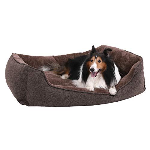 FEANDREA XXL waschbares Hundebett, Bezug abnehmbar und maschinenwaschbar, kuscheliges Hundekissen, Braun 110 x 27 x 75 cm PGW12CC