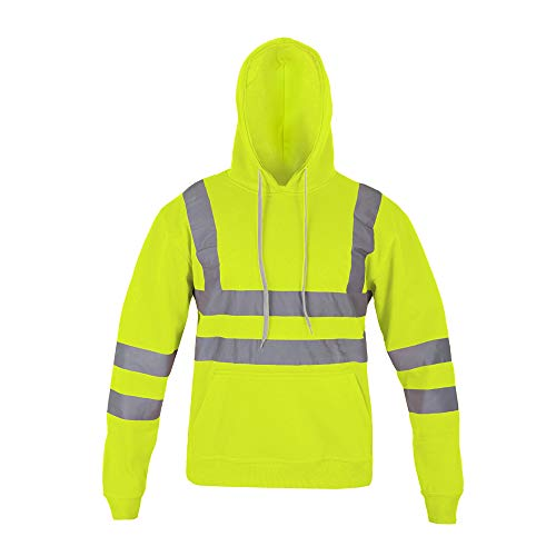Price comparison product image AK Garments Hi Vis Hooded Sweatshirt High Visibility Reflective Tape Band Work Fleece Safety Hoodie Sweat Shirts Warm Security Workwear Work Wear Jumper Tops (XXX Large,  Fluorescent Yellow)