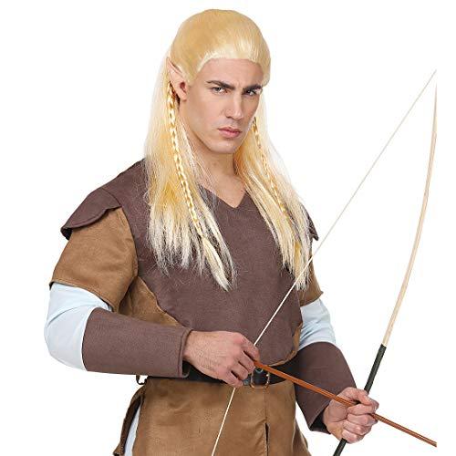 Amakando Fantasy Elben-Perücke für Herren / Blond / Märchenhafte Faschingsperücke Bogenschütze / Perfekt geeignet zu Fasching & Fastnacht