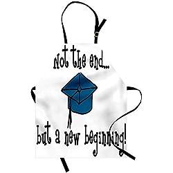 Soefipok Delantal de graduación, no Termina Pero Comienza la Frase Motivacional y el Graduado de la Gorra de Birrete, un Delantal de Cocina con Cuello Ajustable para cocinar Unisex, Negro Azul Blanco