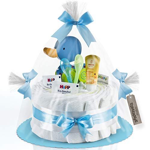 Timfanie® Windeltorte   Ziehente (1-stöckig/baby-blau)   Windeln Gr. 2 (Baby 4-8 Kg)