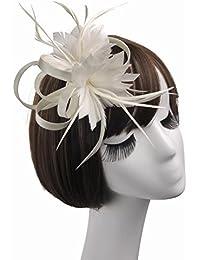 HYW Sombrero - Damas otoño e Invierno Tiara Sombreros Europeos Lino  Material de Plumas Sombrero Boda 1aaf553f440b