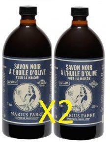 Marius Fabre SAVON DE MARSEILLE - Savon Noir à L'Huile d'Olive 1L - Lot de 2 Flacons de 2 x 1L