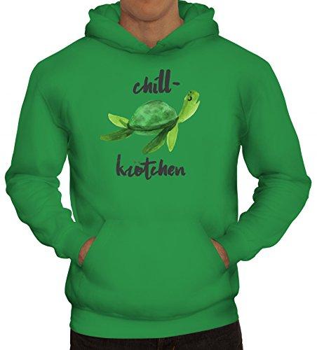 ShirtStreet Turtle Schildkröte Kapuzenpullover mit Chillkrötchen 2 Motiv, Größe: L,Kelly Green Green Chiller