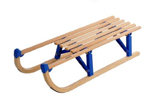 Produktbild rodel-rudi Vt-Sport Klappschlitten Davos Mit Kunststoffbrücken Faltschlitten Holz / Blau 100 cm