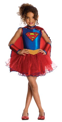 Official Supergirl Cute Supergirl Costume in Two Sizes for Ages 3 to 7 years. Includes a all-in-one dress with an attached cape. Supergirl in a tutu - what more could a little girl want?