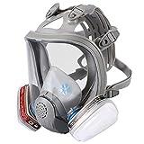 Enjohos - Maschera completa di respiratore, maschera respiratoria di protezione, 2 filtri integrati, certificati CE in silicone per pittura, polvere, saldatura, segatura
