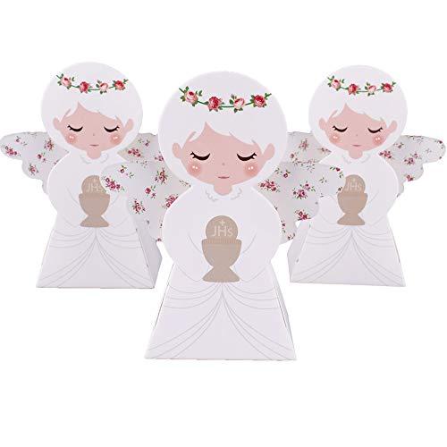 Gudotra 50pz scatole carta kraft angelo santo graal per battesimo nascita segnaposto comunione scatoline portaconfetti per confetti bomboniere compleanno