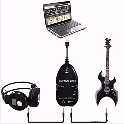 Lorenlli Cable de guitarra Adaptador de interfaz de enlace USB de audio para MAC/PC Accesorios de grabación de música para jugadores de guitarra Regalo