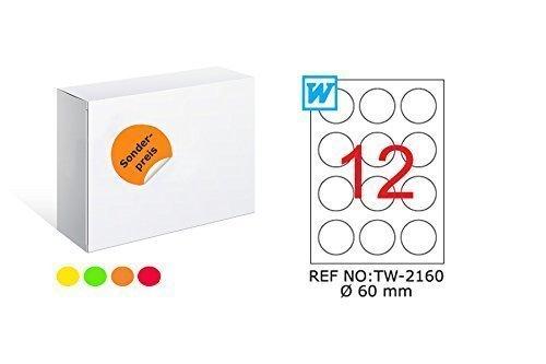 TANEX TW-2160 Fluores Zi Er Fin Etiquetas amarillo ø 60 mm -redondo- 25 Bl. A4