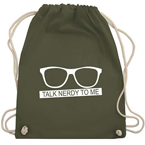 Nerds & Geeks - Talk Nerdy to me - weiß - Unisize - Olivgrün - WM110 - Turnbeutel & Gym Bag