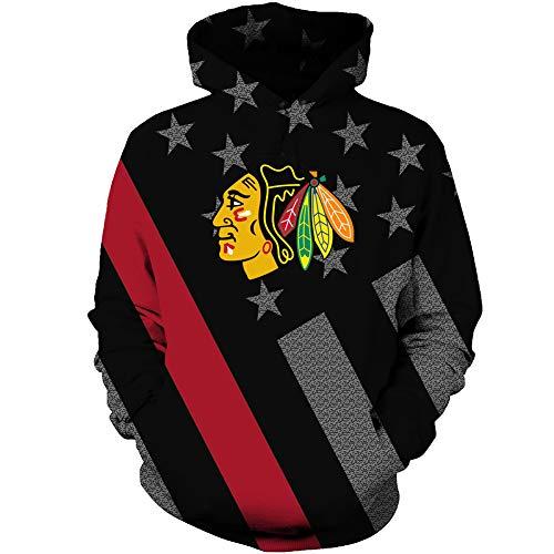 Imzoeyff Männer 3D Hoodie Hoodie Pullover Pullover Chicago Blackhawks Pullover Mode Lässig Herrenbekleidung,XL Blackhawk Pullover Hoodie