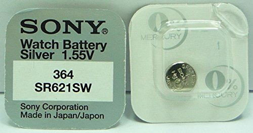 Sony 364 SR621SW Lot de 10 piles pour montre à l'oxyde d'argent 0 % mercure