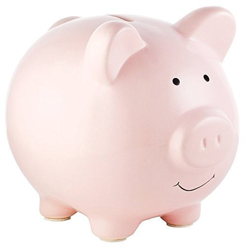 Classic Ceramic Plain Piggy Bank in Gift Box - choice of colours