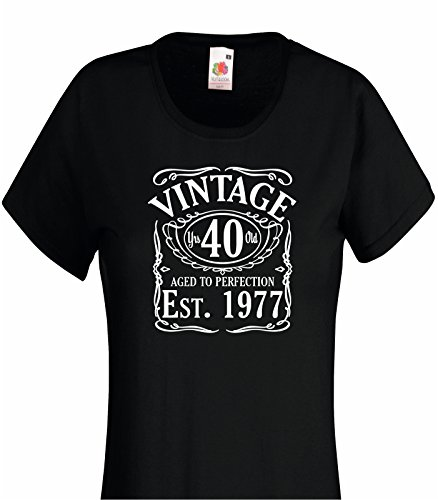 Vintage Since 1977 40th Birthday Gift FUNNY Ladies Womans Cotton T Shirt Ideal 2XL 18 Black
