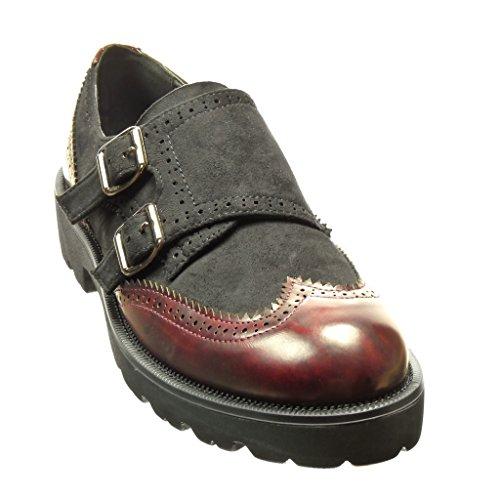 Angkorly Damen Schuhe Derby-Schuh - Bi-Material - Schleife - Perforiert Blockabsatz 3.5 cm cm Schwarz