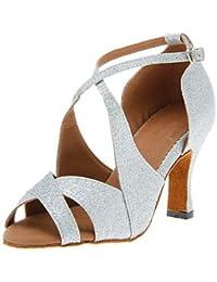 Silencio @ de la mujer latina/Salsa Zapatos de baile talón de purpurina brillante negro/rojo/plata/oro, plata, US8 / EU39 / UK6 / CN39
