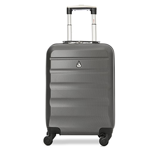 Aerolite Aerolite Lightweight Abs Hard Shell Trolley Travel Carry on Hand Cabin Luggage Suitcase Bagage Cabine, 56 cm, 33 liters, Gris (Charcoal)