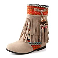 Women Tassle Boots with Round Toe,Retro Flat Boots,Tassel Biker Ankle Boots Yellow,Black,Blue,Beige