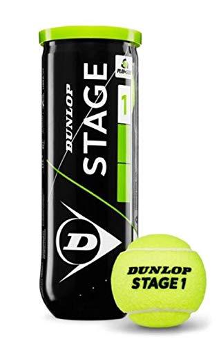 Dunlop Stage 1- Palla da tennis, Verde/nero, 3 palline