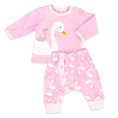 Baby Sweets Baby Set Hose + Shirt Mädchen rosa | Motiv: Schwan | Babyset mit 2 Teilen für Neugeborene & Kleinkinder | Größe 18 Monate (86)