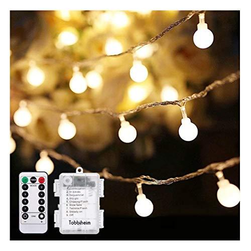 Tobbiheim 50 LED Kugeln Lichterkette Batteriebetrieben 7 Meter Stimmungslichter IP68 Wasserdicht Außenbeleuchtung und Innenbeleuchtung Sternlicht für Weihnachten, Hochzeit, Party, Ferien - Warmweiß (Lampions Verschiedene Farben)