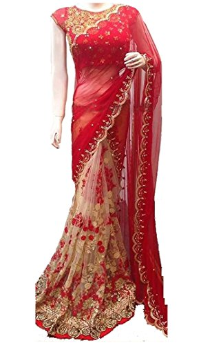 Women\'s Clothing Red Net Georgette Sarees For Women Party Wear Offer Latest Designer Wedding New Collections Half & Half Saree with Embroidered Blouse