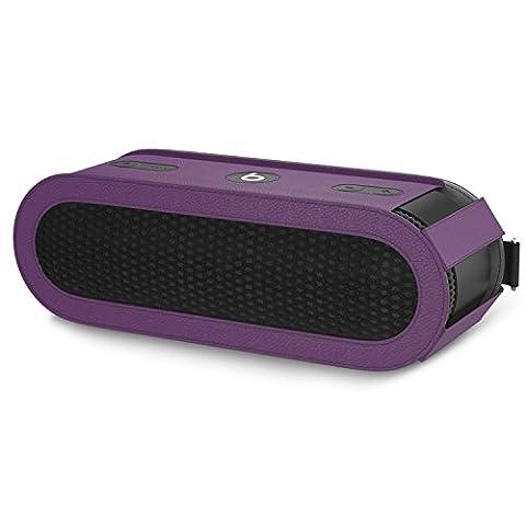 MoKo Beats Pill+ Lautsprecher Schutzbox Schutzhülle, Premium PU Leder Hülle Tragetasche Reisetasche für Beats by Dr. Dre Pill 2 Bluetooth Wireless Lautsprecher, mit Handschlaufe / Karabinerhaken, Violett