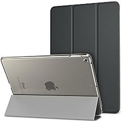 MoKo Funda para Nuevo iPad 9.7 pulgada 2018/2017 - Ultra Slim Función de Soporte Protectora Plegable Smart Cover Trasera Transparente Durable Para Apple New iPad 9.7 pulgada 2018/2017 Release Tableta, Gris Espacial (Auto Sueño / Estela)