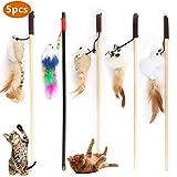 Emooqi Varita de Juguete para Gatos, Juguete de Plumas de Gato Interactivo Juguete Varita de 5 Varitas con 5 Piezas Diferentes Plumas de Juguete Juguetes para Mascotas Entretenimiento Interactivo
