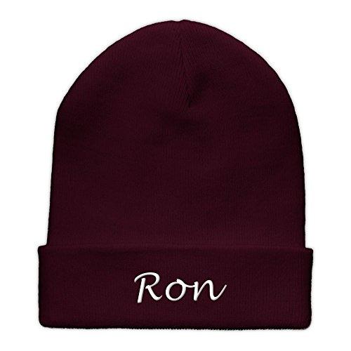 men Ron bestickt - Farbe Burgundy - personalisierte Mütze, Strickmütze, Namensstickerei (Ron Burgundy Farbe)
