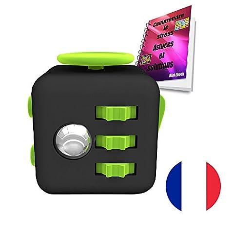 CUBE ANTISTRESS-Vous Permet de Soulager Le Stress et l'anxiété Chez l'Adulte et l'Enfant-fidget cube-BONUS-EBOOK OFFERT gratuitement (noir et vert)
