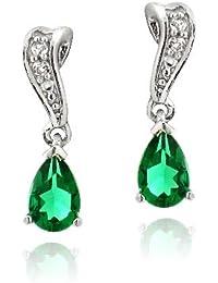 Sterling Silver Created Green Quartz & White Topaz Swirl Teardrop Earrings 16.6