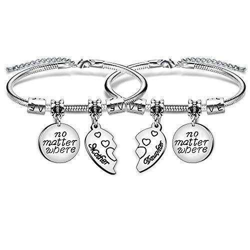 2Armbänder für Mutter und Tochter, 2 Herzteile, Edelstahl, Geschenk, Schmuckset, für Frauen und Mädchen