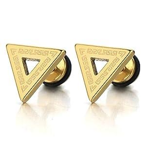 COOLSTEELANDBEYOND Offenes Dreieck Herren Ohrstecker mit Griechischen Schlüsselmuster, Ohrringe Ohr-Piercing Edelstahl, 1 Paar